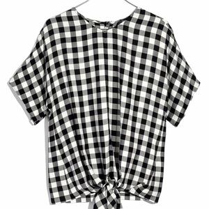 Madewell Checkered Shirt Tie Up Front Button Back